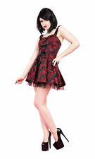Red Black Jacquard Corset Style Mini Dress Goth Punk Glam Party Prom New 8