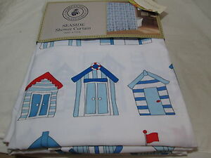 Caribbean Joe Island Supply Co SEASIDE Shower Curtain ~ Red, Blue White Building