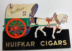 Huifkar Cigars Cardboard Die Cut Sign White Horse Wagon Easel Back