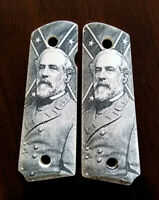 1911 custom engraved ivory scrimshaw grips General Lee Confederate Hero