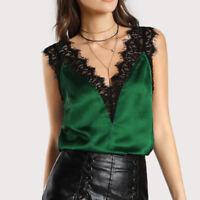 Women Lace Vest Top Sleeveless Casual Tank Blouse Summer Tops T-Shirt uk