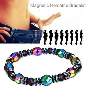 Natural Energy Hematite Stone Bracelet Healing Balance Anti-Anxiety Unisex Gift