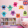 Monster Wall Stickers x 8 Boy Room Kids Bedroom Nursery Cartoon Colourful Aliens