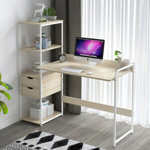Corner Computer Desk with 4 Shelves 2 Drawers Home Office Small PC Laptop Table