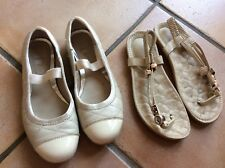Girls Clarks Leather Shoes Cream Size UK 1F + pair Of Sandals
