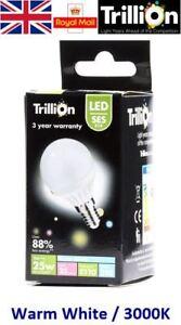 3w = 25w LED Golf Ball Small Edison Screw SES Light Bulb Lamp Warm White 25 Watt
