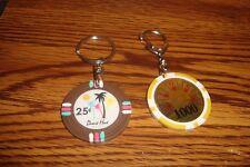 #2 Two Vegas Style Casino Poker Chip Key Ring Key Chain Fob .25 & $1000 2c