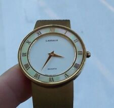 NICE Vintage Lasalle Gold Tone Watch Wristwatch 7N00 Mother Of Pearl Ring Deco