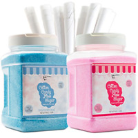 The Candery Cotton Candy Floss Sugar 2-Pack Includes 100 Premium Cones | Blue |