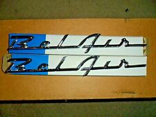 CHROME CHEVY BELAIR SCRIPT EMBLEMS - RIGHT & LEFT 5 PIN  10 1/5 INCH NEW