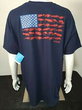 New Genuine Columbia PFG Sportswear Men's T-Shirt, American Patriotic Flag, XL