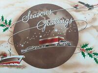Vtg 1961 CAR Semi TRUCK Ship & PLANE Mid Century CHRISTMAS GREETING CARD