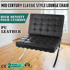 Mid Century Modern Classic Barcelona Style Lounge Chair PU Leather Comfortable