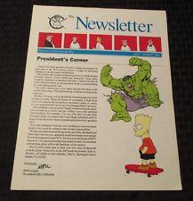 1991 National Cartoonists Society NEWSLETTER July/Aug NM Hulk Bart Simpson 8 pgs