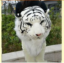 simulation white tiger head backpack stuffed steller's tiger head backpack gift