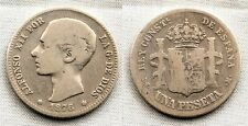 España-Alfonso XII. 1 Peseta 1876**. Madrid. BC+/F+ Plata 4,7 g. Escasa