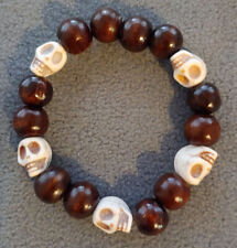 Natural Stone Skull Head Bead and Wood Bead Stretch Bracelet