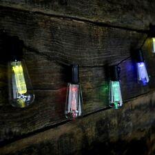 10x Solar Power Multi Coloured LED Edison Bulb String Lights Retro Fairy Lamps
