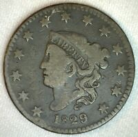 1829 Coronet Head US Large Cent Copper Type Coin VG Very Good Grade 1c US Penny