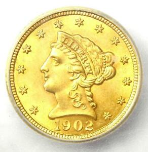 1902 Liberty Gold Quarter Eagle $2.50 Coin - Certified ICG MS60 Details (UNC)