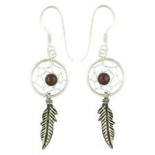 Silver earrings drop 925 sterling dream catcher gemstone garnet dangle 40mm