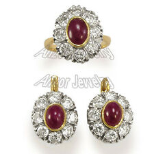 14k Two-Tone 4.80 CWT Diamond and Ruby Set. Earings ring Russian design (#S207)