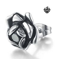 Silver stud black crystal stainless steel rose SINGLE earring vintage style