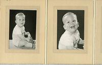 Antique Photo in Folder - Tri-Fold - Little Boy Holding Clown & One Close Up