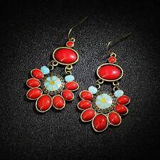 Boucles d'Oreilles Ethnique Rouge Doré Fleur Turquoise Original Retro Cadeau E1