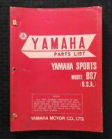 "1969 1972 YAMAHA SPORTS ""250cc MODEL DS7"" MOTORCYCLE PARTS CATALOG MANUAL NICE"