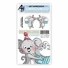 Art Impressions Rubber Stamp & Die Set  FROSTING SPINNER & DIES - 3D-Cards -4817