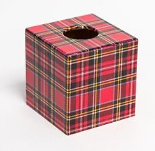 Red Tartan Tissue Box Cover wooden handmade