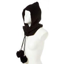 Schalmütze Mütze mit Schal Grau Beige Schwarz Strick Damen Schlauchschal Winter