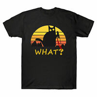 Cat What? Funny Black Cat with knife Men's T-Shirt Black Cat Murderou Tee Gift