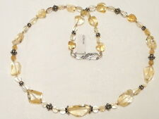 "CITRINE GEMSTONE NECKLACE, 925 STERLING SILVER ""NEW ""AUZ MADE"