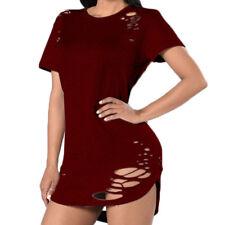 Women Casual Loose Ripped Broken Hole Short Sleeve T-shirt Tops Blouse Clubwear