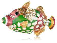 Colorful Hand Painted Enamel Crystal Rhines Ocean Trigger Fish Pin Brooch Gifts