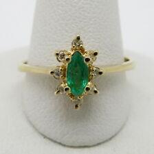 Pretty Halo 14K Yellow Gold Genuine Marquise Emerald and Round Diamond Ring