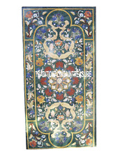 2.5'x5' Green Marble Dining Table Precious Mosaic Inlaid Decorative Gifts Decor