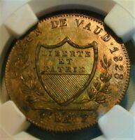 1828 BEL Switzerland Batzen Vaud NCG MS 64+ Nice Color !  (#231)