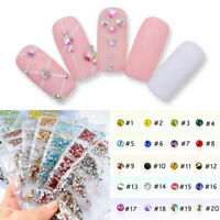 1440pcs/Pack Glass Nails Rhinestones Multi-size Crystals Rhinestone Charms Tips