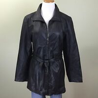 COLEBROOK Womens Sz L Black Leather Jacket Belted Blazer Coat Size Large