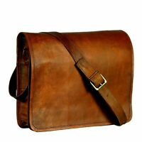 "New 17"" Men's Leather Bag Messenger Laptop Shoulder case Crossbody Satchel Brown"