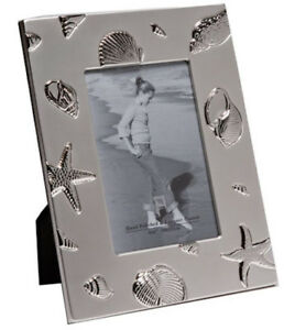 """Stars & Shells Holiday Gift - Silver Plated Picture Photo Frame 5"""" x 7"""""""