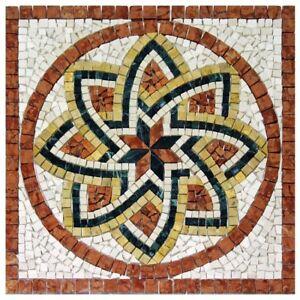 Rosoni rosone mosaico in marmo su rete per interni esterni 66x66 FLORIUM ROSSO