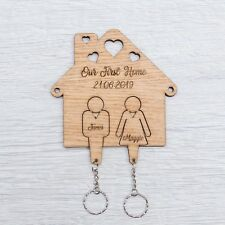 Personalised Wooden OUR FIRST HOME Key Ring Wall Name Plaque House Warming OAK