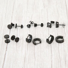 6 Pairs Stainless Steel Earrings For Women Men Hoop CZ Stud Round Square Gothic.