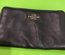 Coach Black Zipper Around Long Leather Wallet