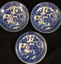 """Lot Of 3 Vintage Blue Willow Plates Saucers 6"""" Made In Japan"""