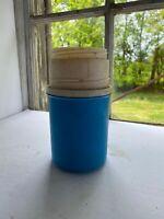 Vintage 1970's Blue Wide Mouth Thermos Travel Jug Bottle Tyngsboro Massachusetts